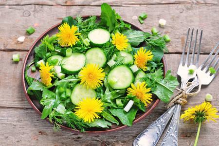 Dandelion flower salad
