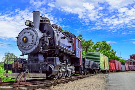 Old steam locomotive on the railway