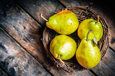 Pears in a wicker plate