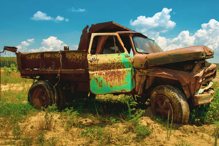 Old truck in the field