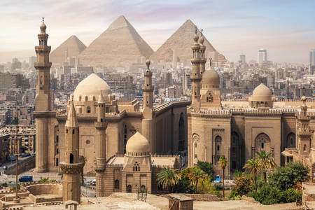 Sultan Hassan Mosque and the Great Pyramids of Giza