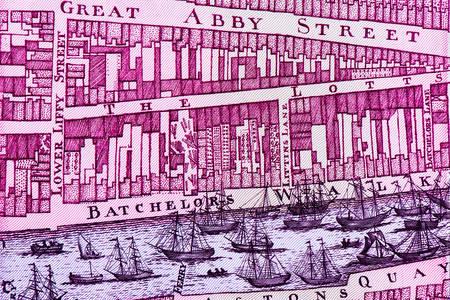 Mapa Dublina na starym funcie