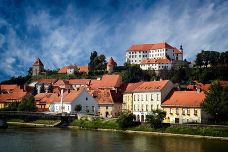 The town of Ptuj near the Drava river