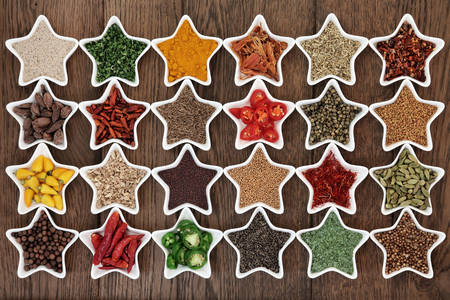 Spices in star-shaped bowls