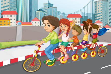 Passeio de bicicleta em família