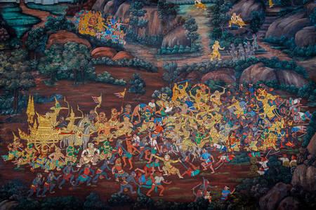 Настенные росписи в храме «Изумрудного Будды»