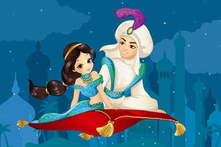 Alladin z księżniczką na latającym dywanie
