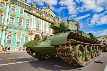 Military equipment on the Palace Square