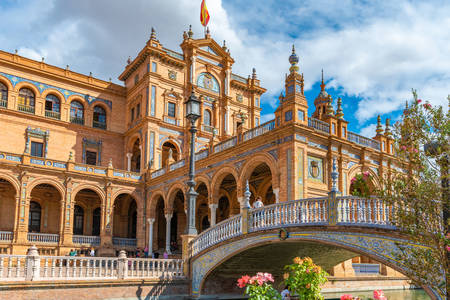 Architecture of the Plaza of Spain in Seville