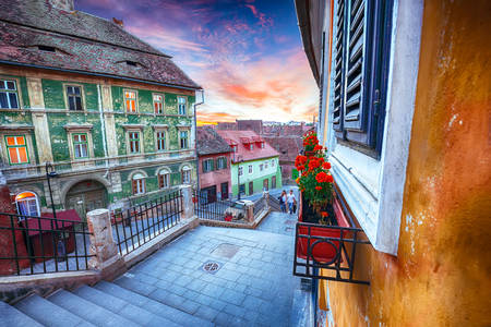 Sunset on the streets in Sibiu