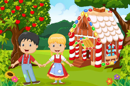 Hansel and Gretel at the gingerbread house