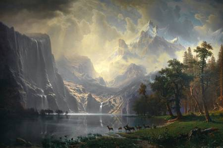 """Albert Bierstadt: """"Sierra Nevada Dağları Arasında - Kaliforniya"""""""
