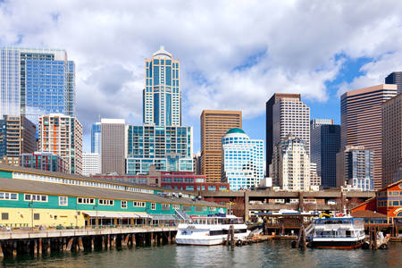 Seattle waterfront and skyscrapers