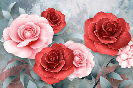 Roses on a gray background