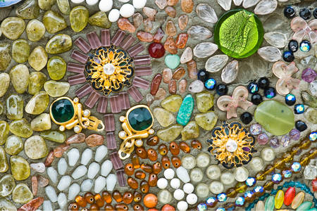 Mosaic of stones and jewelry