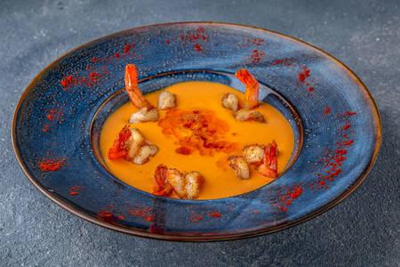 Pumpkin cream soup with shrimps
