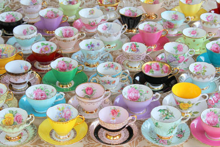 Collection of porcelain cups