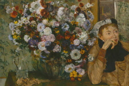 """Edgar Degas: """"A woman sitting next to a vase of flowers"""""""