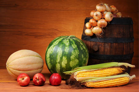 Fruits and vegetables on a wooden table