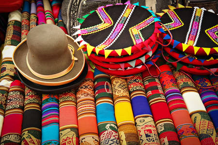 Colorful fabrics in Peru