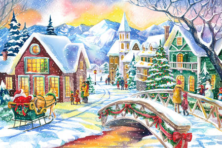 Watercolor christmas village