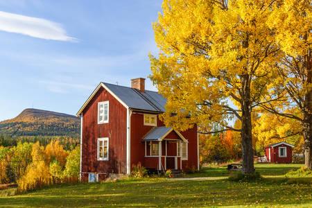 Ferienhaus im Herbstgarten