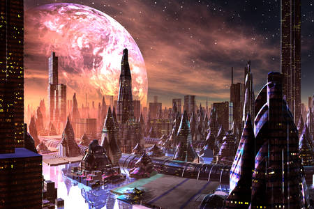 Futuristic city view