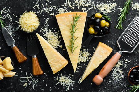 Parmesan cheese, olives and rosemary