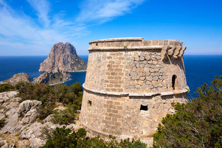 View of Es Vedra from the Torre de Savinar tower
