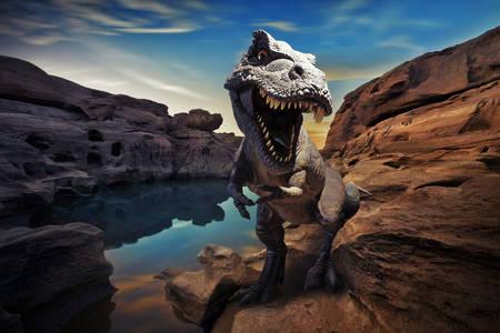 Tyrannosaurus on the rock