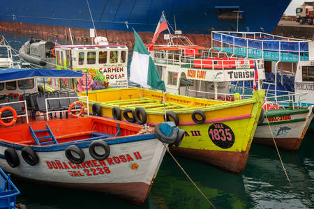 Barche colorate nel porto di Valparaiso