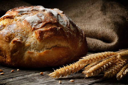 Bread and spikelets of wheat