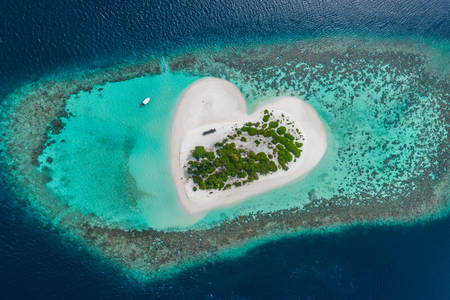 Heart-shaped island in Maldives