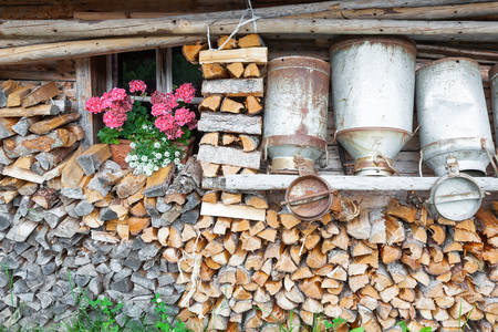 Firewood in a mountain hut