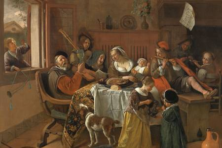 "Jan Steen: ""La familia feliz"""