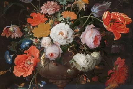 """Abraham Mignon: """"Natura morta con fiori e orologio"""""""