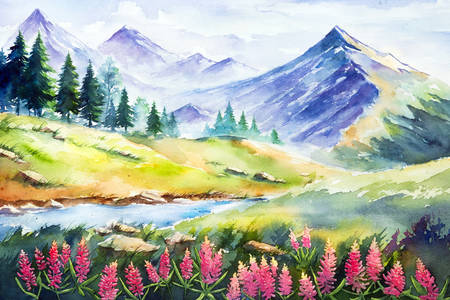 Watercolor mountain landscape