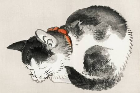 "Kōno Bairei: ""Chat endormi"""