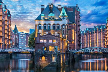 Speicherstadt district at night