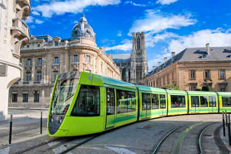Tram on the streets of Reims