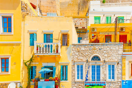 Colorful houses on the island of Kalymnos