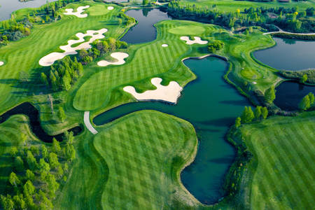 Top view of golf courses
