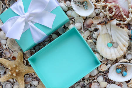 Gift box and products with turquoise