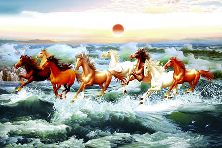 Horses running on the waves