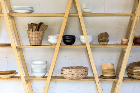 Wooden shelf with dishes