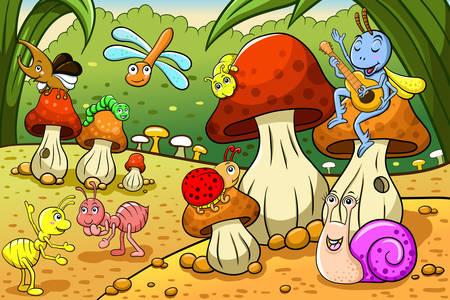 Insekten auf einer Pilzwiese
