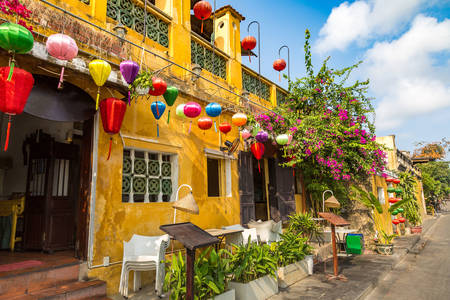 Colorful street in Hoi An