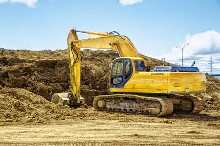 Excavator in a quarry