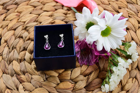 Earrings with amethyst in a gift box
