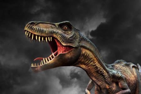 Tyrannosaurus a sötét ég ellen